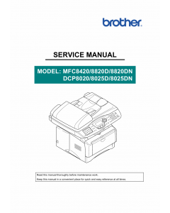 Brother MFC 8420 8820D 8820DN DCP8020 8025D 8025DN Service Manual