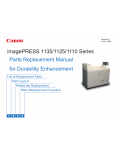 CANON imagePRESS 1110 1125 1135 Parts Replacement Manual PDF download