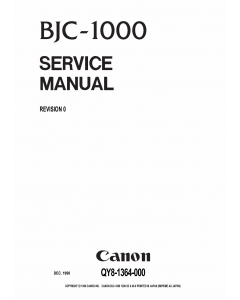 Canon BubbleJet BJC-1000 Service Manual