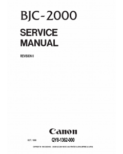 Canon BubbleJet BJC-2000 Service Manual