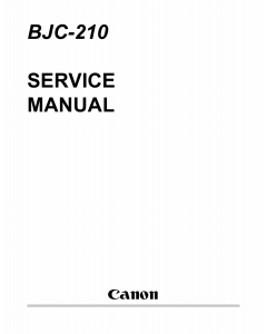 Canon BubbleJet BJC-210 Service Manual