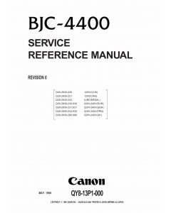 Canon BubbleJet BJC-4400 Service Manual