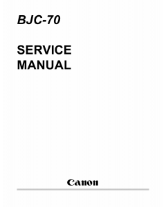 Canon BubbleJet BJC-70 Service Manual