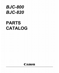 Canon BubbleJet BJC-800 820 Parts Catalog Manual