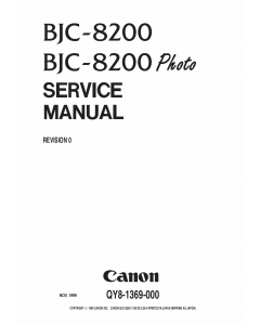 Canon BubbleJet BJC-8200 Service Manual