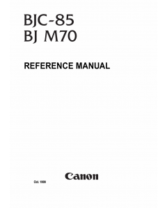 Canon BubbleJet BJC-85 Service Manual