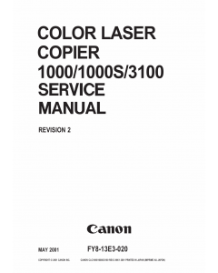 Canon ColorLaserCopier CLC-1000 1000S 3100 Parts and Service Manual