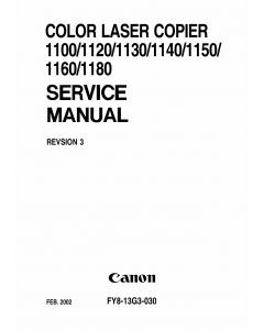 Canon ColorLaserCopier CLC-1100 1120 1130 1140 1150 1160 1180 Parts and Service Manual