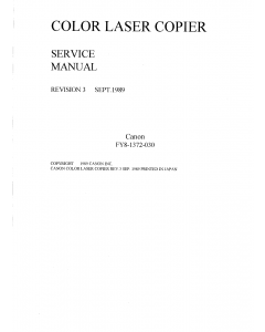 Canon ColorLaserCopier CLC-1 Parts and Service Manual