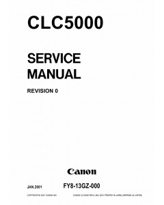 Canon ColorLaserCopier CLC-5000 Parts and Service Manual