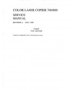Canon ColorLaserCopier CLC-700 800 Parts and Service Manual