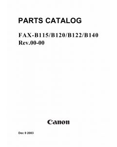 Canon FAX B115 B120 B122 B140 Parts Catalog Manual