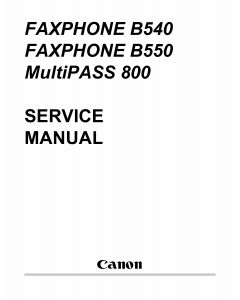 Canon FAX FP-B540 B550 MultiPass-800 Parts and Service Manual