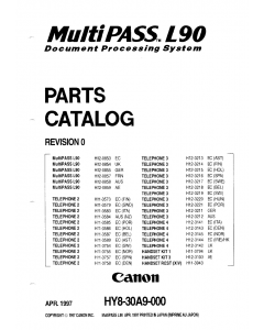 Canon FAX FP-L90 MultiPass Parts Catalog Manual