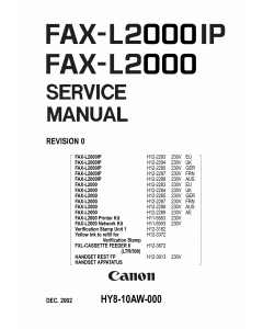 Canon FAX L2000 L2000IP Parts and Service Manual