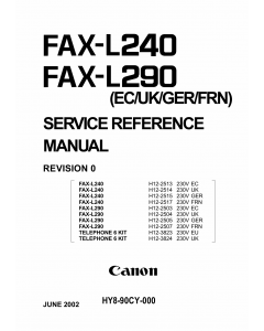 Canon FAX L240 L290 Parts and Service Manual