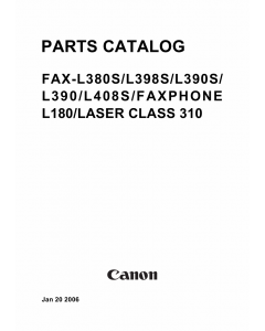 Canon FAX L380S L390 Parts Catalog Manual