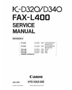 Canon FAX L400 Service Manual