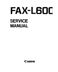 Canon FAX L600 Parts and Service Manual