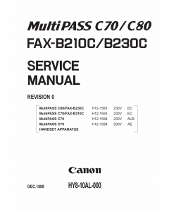 Canon FAX MultiPass-C70 C80 B210C B230C Parts and Service Manual
