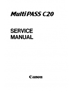 Canon MultiPASS MP-C20 Service Manual