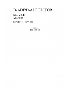 Canon Options ADF-D ADF-Editor Parts and Service Manual