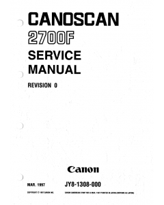 Canon Options CS-2700F CanoScan 2700F Parts and Service Manual
