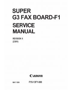Canon Options Fax-F1 Super-G3 Fax-Board-F1 Service Manual