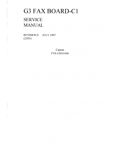 Canon Options Fax-G3-C1 Service Manual
