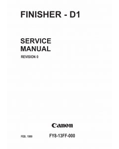 Canon Options Finisher-D1 Parts and Service Manual