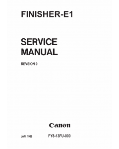 Canon Options Finisher-E1 Parts and Service Manual