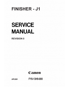 Canon Options Finisher-J1 Parts and Service Manual