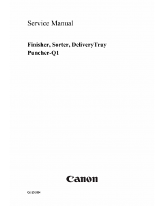 Canon Options Finisher-Q1 Sorter DeliveryTray Puncher Service Manual