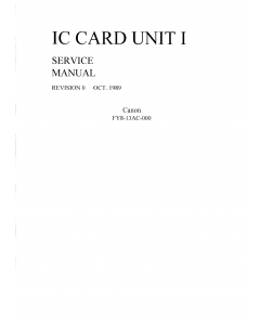 Canon Options IC-I Card-Unit-I Parts and Service Manual