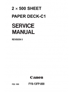 Canon Options Sheet2x500 Paper-Deck C1 Parts and Service Manual