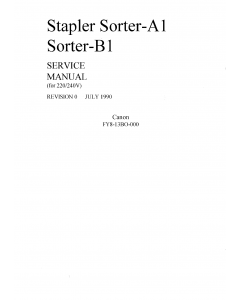 Canon Options Sorter-A1 Stapler-B1 Parts and Service Manual