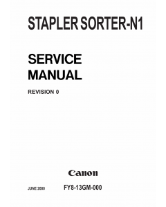 Canon Options Sorter-N1 Stapler Parts and Service Manual