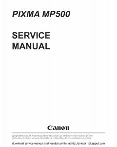 Canon PIXMA MP500 Service Manual
