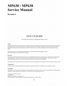 Canon PIXMA MP630 MP638 Service Manual