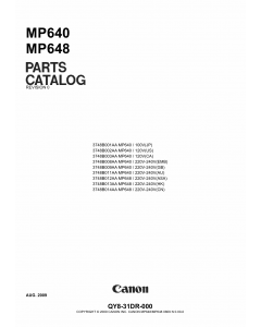 Canon PIXMA MP640 MP648 Parts Catalog Manual