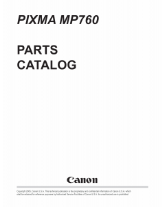 Canon PIXMA MP760 Parts Catalog Manual