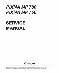 Canon PIXMA MP780 MP750 Service Manual