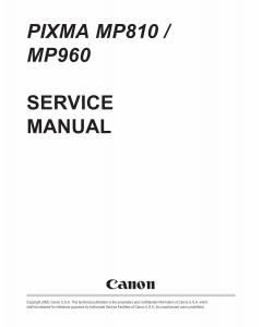 Canon PIXMA MP960 MP810 Service Manual