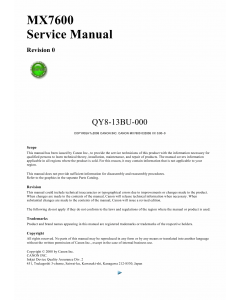 Canon PIXMA MX7600 Service Manual