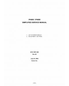 Canon PIXMA iP4600 ip4680 Simplified Service Manual
