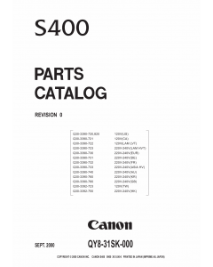 Canon PIXUS S400 Parts Catalog Manual