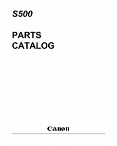 Canon PIXUS S500 Parts Catalog Manual