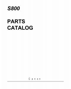Canon PIXUS S800 Parts Catalog Manual