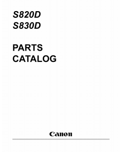 Canon PIXUS S820D S830D Parts Catalog Manual