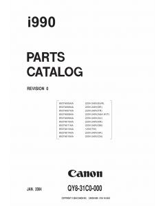 Canon PIXUS i990 Parts Catalog Manual